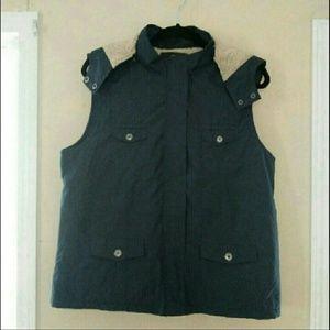 Sonoma fleece lined hooded navy vest Size L